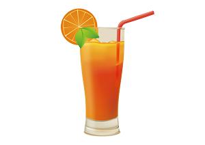 プロテインを混ぜたオレンジジュースの画像