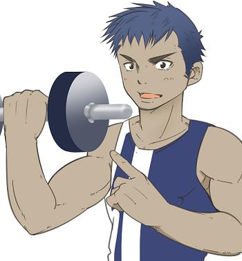 細マッチョ編集部員 吉川トレーナー 腕を鍛えている画像